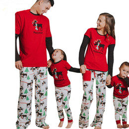 Mother Daughter Matching Top Canada - Newest Christmas Pajamas Family Look Elk Christmas Tree Printed Tops Pants Suit Home Pajamas Sets Family Clothing Sets Matching Outfits