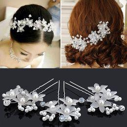 Discount hair hairpin - Pearls bridal Wedding Hair Accessories hairpin rhinestone hair ornament crystal flower barrettes Bride Fashion Jewelry
