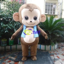 Monkey Halloween Costumes Canada - FUMAT Lovely Monkey Cartoon Costume High Quality Supercute Halloween Children Party Mascot Costume Adult Size Sample Picture Customization