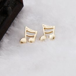 $enCountryForm.capitalKeyWord Canada - New fashion gold plated notes stud earring cute cat with tail crystal stud alloy earrings wholesale free shipping