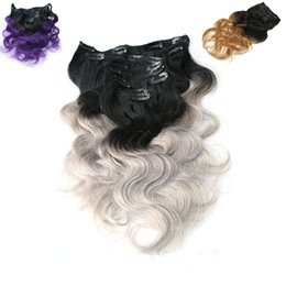 $enCountryForm.capitalKeyWord Canada - Ombre Clip Brazilian Human Hair Extensions T1b Purple T1b Grey T1b 27 Wholesale 4set lot Body Wave Virgin Brazilian Hair Clip In Extensions