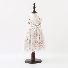 European Printed Dress NZ - Sweet Girls princess dress Children floral printed lace suspender tulle dress kids lace crochet dress Girls backless party dess A0140