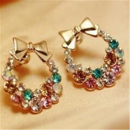 Pink statement jewelry online shopping - Crystal Earrings Stud for Women DHL Fashion Imitation Ear Diamond Pink White Colorful Rhinestone Bow Earring Statement Jewelry Gift