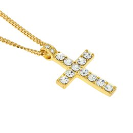 mens white gold chain necklaces UK - Mens hip hop jewelry cross rhinestone pendants European and American style crystal hiphop chain necklaces accessories