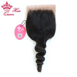 queen hair virgin brazilian loose 2019 - Queen Hair Loose Wave Silk Base Closure 100% Virgin Human Hair brazilian wavy cheap queen hair virgin brazilian loose