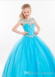 Wholesale Hot Sale Deluxe Girls Pageant Dress Beads Appliques Tulle Ruffle Ball Gown Rhinestone Flower Girl Dresses Size customization