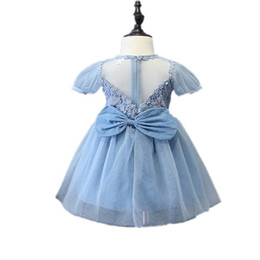 Filles Tutu Bleu Pâle Pas Cher-Lovely Light Blue Dress With Big Bow Retour Princesse O-Neck Girl Robe Enfant Pour 3-7 Ans Ancienne