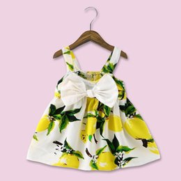 Barato Traje Do Vintage Das Meninas-Baby Lemon Printed Boutique Clothing 2017 Vintage Floral Girl Tutu Vestidos Summer Bow Vestidos de bola impressa Princess Costume Party Dress Toddler
