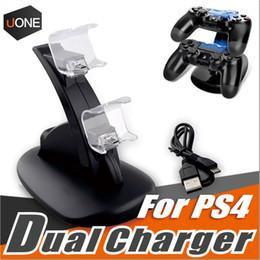 Deux chargeurs pour ps4 xbox un contrôleur sans fil 2 usb LED station de charge dock support de support pour PS4 gamepad playstation avec boîte