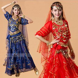 Barato Trajes De Dança Para O Verão-Q228 Verão Bellydance Costume Set Mulheres Belly Dança Trajes Set Bollywood Dress Belly Dance Dress 6 cores