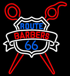 "$enCountryForm.capitalKeyWord NZ - Custom Route Barbers 66 Logo Neon Sign Handmade Advertised Real Glass Tube Sport Bar Game Racing Art Club Display Neon Signs 24""X20"""