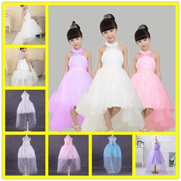 Barato Chiffon Curto Vestidos Cauda-2017 NOVO Baby Girl Cute Asymmetric Halterneck Solid Mesh Long Tail Flower Girl Vestido Tutu Casal Party Backless Trailing Ball Gown Dress