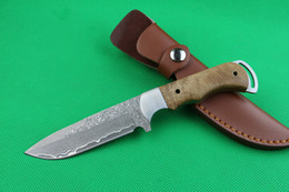 $enCountryForm.capitalKeyWord Canada - 2016 New Damascus Fixed blade hunting knife 58HRC Drop point Blade Shadow wood handle Survial straight knife with leather sheath