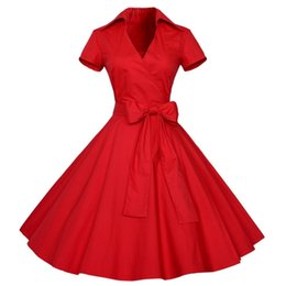 China Wholesale- Hot Sales Summer Women 1950s Retro Audrey Hepburn Style V-Neck Swing Lapel Shirt Rockabilly Pinup Dress cheap hot swing suppliers