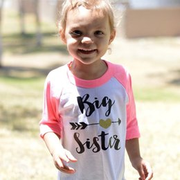 Big Sister Girls Camisetas 2017 Spring Arrow Heart Baby Girl Ropa Niño  Camisetas de Manga Larga Para Niños Niño Traje Envío Gratis af362701219