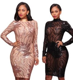Robe De Soirée Sexy Xl Pas Cher-Femmes 2 couleurs Casual Dresses club Fashion party Vêtements rose or sexy sequins robe Backless Slim bodycon bandage robes