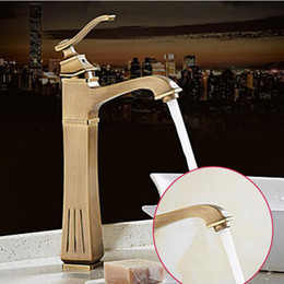 vessel mixer tap UK - Good Ceramic Handle Bathroom Sink Faucet Antique Bronze Vessel Sink Mixer Tap Hot And Cold Tap