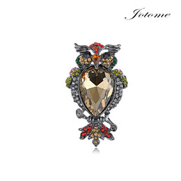rhinestone feather brooches 2020 - 100PCS Lot Free Shipping Hot Sale Nickel Tone Multi Colored Rhinestones Owl Bird Feathers Brooch Pin