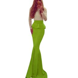 Green Lace Dress Xl Canada - Sexy Mermaid Party Vestidos Women Beautiful Special Long Sleeves Lace Patchwork Green Celebrity Mermaid Floor Length Peplum Dress W850439
