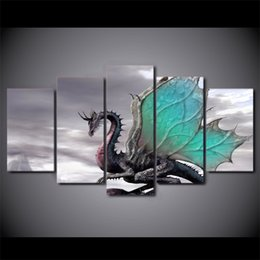 enchanted animals Canada - 5 Pcs Set Framed HD Printed cool enchanting dragon picture Painting wall art room decor print poster picture canvas Free shipping ny-860