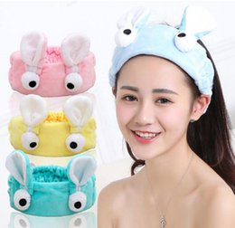 Barato Desenhos Animados Grandes Da Menina Dos Olhos-meninas senhora Cartoon Rabbit Ears Hair BandEars Maquiagem Wash Big Eyes Head Band Hairbands Headbands Headdress Headwear Ornament Trinket 20pcs /