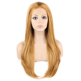 """$enCountryForm.capitalKeyWord UK - 24"""" Long Blonde Silky Straight Half Hand Tied Heat Resistant Synthetic Fiber Lace Front Wig S02"""