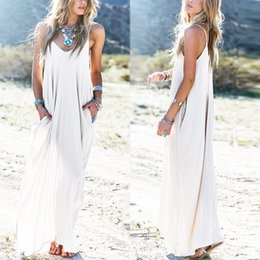 Robes De Plage Maxi Occasionnelles Pas Cher-Mode Summer Casual Vestidos Femmes Bustier Long Maxi Beach Dress Sexy V Neck Sans manches Long Maxi Baggy Dress Livraison gratuite
