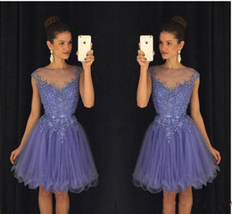 pictures 8th grade dresses 2019 - 2017 Lavender Sheer Short 8th-12th Grade Homecoming Dresses Cap Sleeves Lace Appliques Beaded with Belt Backless Mini Co