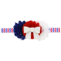 baby Girls US Independence Day Headbands Rhinestone Chiffon Flower hair band  Sparkle bands 4th of July headband stripe Headwear KHA275 013fa93c2a9d
