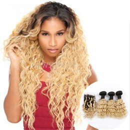 Discount virgin hair extensions dark blonde - Blonde Two Tone Ombre 1B 613 Hair Weft With Closure Dark Root Virgin Body Wave Human Hair Bundles Extension With Lace Cl
