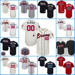 0da39f9308f ... Mens Atlanta Braves Customized 5 Freddie Freeman Swanson Gray Cream Red  White Navy Stitched Any Name ...