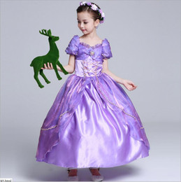 Robe Princesse Violet Enfants Pas Cher-Baby Girls Dress Long Hair Princess Tangled Rapunzel Robe violette Enfants anniversaire bulle jupe Rapunzel Costume Costume Party Dress GD26
