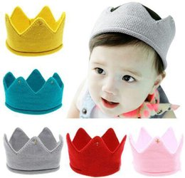 Wholesale Crown Shape Caps Winter Baby Caps Hats Kids Cap New Cute Baby Boys Girls Crown Knit Headband Hat Photography Props M