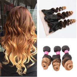 $enCountryForm.capitalKeyWord NZ - 1b 4 27 Ombre Brazilian Virgin Hair with Closure Ombre Ear to Ear Lace Frontal Closure With bundles Ombre Three Tone Blond Color