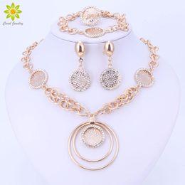 dubai gold pendants 2019 - Crystal Jewelry Sets For Women African Beads Dubai Party Wedding Bridal Luxury Fashion Round Pendant Necklace Sets cheap
