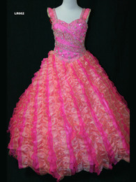 $enCountryForm.capitalKeyWord NZ - Wholesale 2017 New Two-tones Pink Beaded Ruffled Organza Ball Gown Little Girl Pageant Dresses Princess Ball Gown