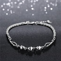 Feather Jewelry Sale Canada - top sale Heart feathers 925 silver charm bracelet 22.5CM EMB365,women's sterling silver plated jewelry bracelet