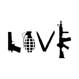 China 13*22cm LOVE With Guns Car Vinyl Sticker Grenade Hand Gun Car Stickers Styling And Decals AR15 Sticker Bombing Motorcycle Bicycle Skateboard suppliers