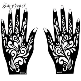 Chinese  Wholesale-1 Pair Hands Mehndi Henna Tattoo Stencil Flower Pattern Design for Women Body Hand Art Painting Disposable 20cm * 11cm S121 manufacturers