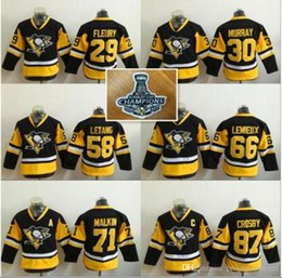 a460bad8 ... 2016 Stanley Cup Champion Patch Youth Kids Pittsburgh Penguins 58 Kris  Letang 71 Evgeni Malkin 66 ...