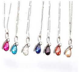 $enCountryForm.capitalKeyWord UK - 10pcs fashion crystal necklace 6 colors tear of angel style heart-shaped embedded diamond alloy pendant necklaces