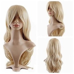 anime long wigs 2018 - New Women Long Wavy Curly Dress Party Wigs Costumes Anime Blonde Wigs+Wig Cap discount anime long wigs