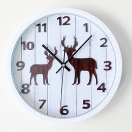 Vintage Fashion Wall Clocks NZ - Wholesale- Forest Small Deer European Vintage Wall Clock Digital Countryside Fashion Design Round Wall Clock Silent Non-tickingWall Clock