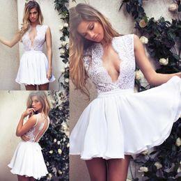 $enCountryForm.capitalKeyWord Australia - 2017 Charming White Short Prom Dresses Lace Appliqued Deep V-Neck Graduation Homecoming Dresses Lace Party Dress Chiffon Mini Skirt Sweet 16