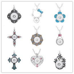 Chain Linked Rings NZ - New Fashion Jewelry Snap Buttons Necklaces Link Chain 55CM With Cross Heart Ring Cat Flower Pendant Fit 18 20MM Snap Buttons Jewlery ZA0112