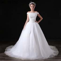Chegada nova Branco Fora Do Ombro Vestidos De Noiva Lantejoulas Frisado Tulle Elegância Custom Made Vestidos De Casamento Vestidos De Noiva A033 em Promoção