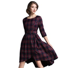 China 2017 Europe Fashion New Scottish Plaids Checks Print O Neck Half Sleeve A Line Tunic Elegant Ladies Work Wear Casual Mid Dress cheap ladies wear dresses suppliers
