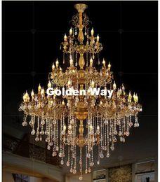 $enCountryForm.capitalKeyWord NZ - Free Shipping Alloy Chandelier Large Elegant Brass Color Crystal Suspension Light Fixture for Hotel Restaurant Foyer Home Lights