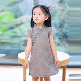 Petite Fille Traditionnelle Pas Cher-Broderie Baby Girl Dress Printemps Automne Chinoise Style Costume Chinoise à Manches Courtes Cheongsam Vertical Collar Girl Dress