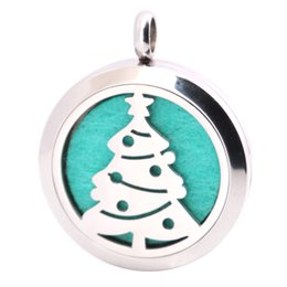 $enCountryForm.capitalKeyWord NZ - 10pcs Christmas Tree 30mm Aromatherapy Essential Oil surgical Stainless Steel Necklace Pendant Perfume Diffuser Locket with Chain Pads